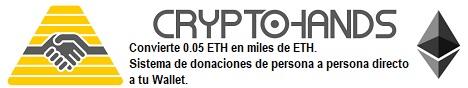 Convierte 0.05 ETH (única inversión) en miles de ETH. Sistema de donaciones de persona a persona directo a tu Wallet. Todo el sistema controlado por un Smart Contract de Ethereum.