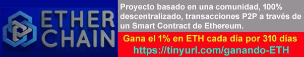 ETHER CHAIN es un proyecto basado en una comunidad, 100% descentralizado, transacciones P2P a través de Smart Contract.  * Cada ciclo de depósito tiene un rendimiento del 310%, el 1% diario. (Ejemplo: depositas 1 ETH y cada dia recibes 0,01 ETH por 310 días).  * Cuando se recibe el 310%, se debe hacer un nuevo depósito para continuar ganando/recibiendo de cualquiera de las 4 formas de ganar que tiene el Smart Contract (ver los vídeos de mi patrocinador que lo explica todo muy bien).  * La entrada mínima es de 0.1 ETH, abierta a todos los participantes, sin restricciones. - No se requiere referencias para recibir el 1% diariamente de tu depósito por 310 días a todos los miembros, 100% pasivo.  * Aumenta la velocidad de tus rendimientos aumentando el fondo comunitario a traves del marketing compartiendo ETHER CHAIN a tus amigos.