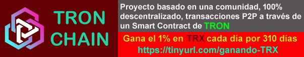 TRON CHAIN es un proyecto basado en una comunidad, 100% descentralizado, transacciones P2P a través de un Smart Contract. Cada ciclo de depósito tiene un rendimiento del 310%, el 1% diario. (Ej.: depositas 10000 TRX y cada día recibes 100 TRX por 310 días).    No se requiere refereridos para recibir el 1% diariamente de tu depósito por 310 días, 100% ganancias pasivas.  Gana TRON de forma 100% pasiva con una mínima inversión de 100 TRX.