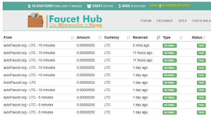 3 AUTOFAUCETS - Gana hasta 14 monedas en automático. Ultimos_cobros_faucethub